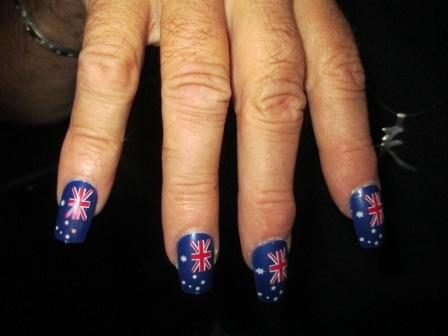 a bloke with Australia Day nails